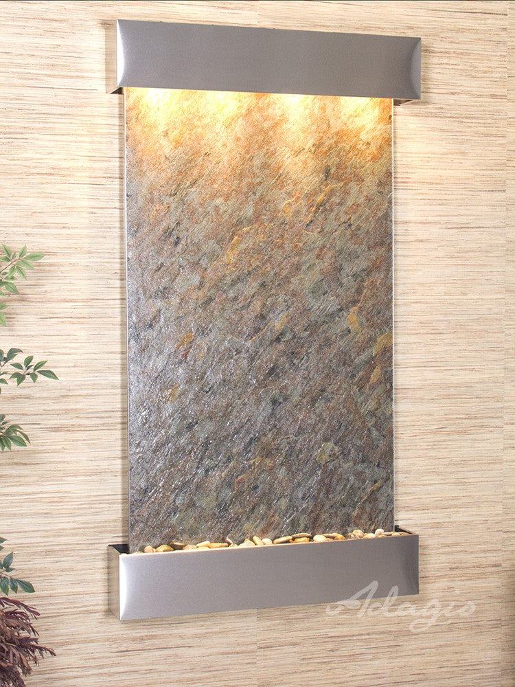 Wall Fountain - Summit Falls - Green FeatherStone - Stainless Steel - Squared - sfs2012