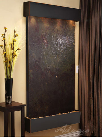Wall Fountain - Summit Falls - Multi-Color FeatherStone - Blackened Copper - Squared - sfs1514_1