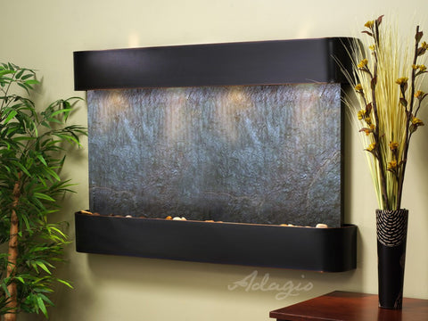 Wall Fountain - Sunrise Springs - Black FeatherStone - Blackened Copper - Rounded - ssr1511
