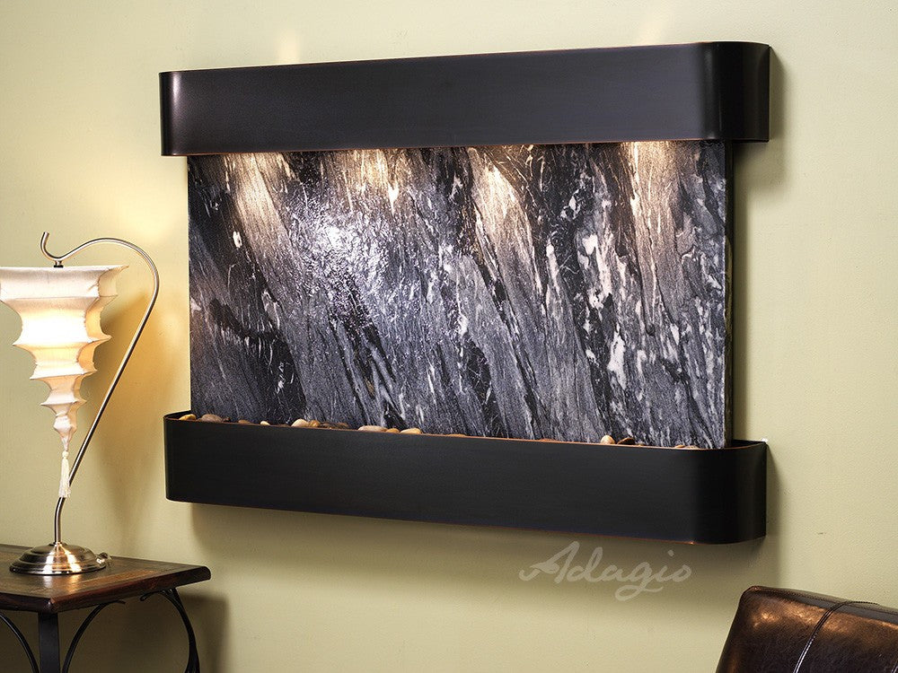 Wall Fountain - Sunrise Springs - Black Spider Marble - Blackened Copper - Rounded - ssr1507