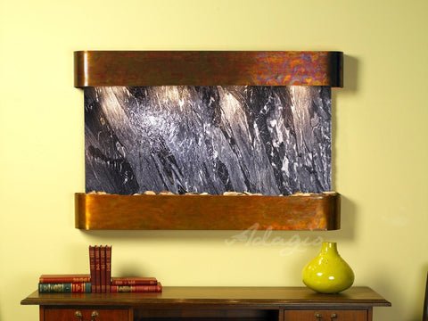 Wall Fountain - Sunrise Springs - Black Spider Marble - Rustic Copper - Rounded - ssr1007