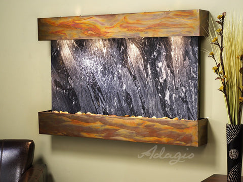 Wall Fountain - Sunrise Springs - Black Spider Marble - Rustic Copper - Squared - sss1007