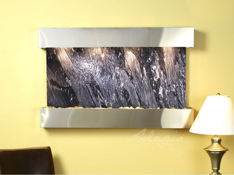 Wall Fountain - Sunrise Springs - Black Spider Marble - Stainless Steel - Squared - sss2007