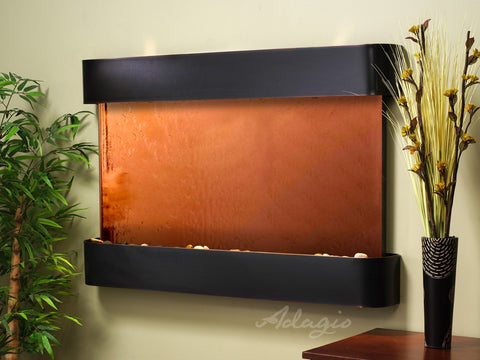 Wall Fountain - Sunrise Springs - Bronze Mirror - Blackened Copper - Rounded - ssr15412