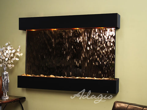 Wall Fountain - Sunrise Springs - Bronze Mirror - Blackened Copper - Squared - sss15413
