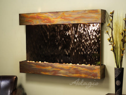 Wall Fountain - Sunrise Springs - Bronze Mirror - Rustic Copper - Squared - sss1041