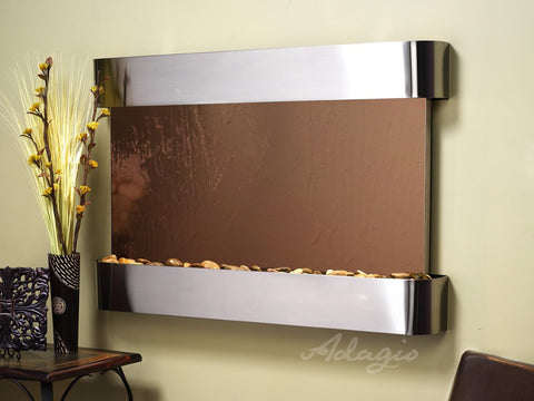 Wall Fountain - Sunrise Springs - Bronze Mirror - Stainless Steel - Rounded - ssr20412