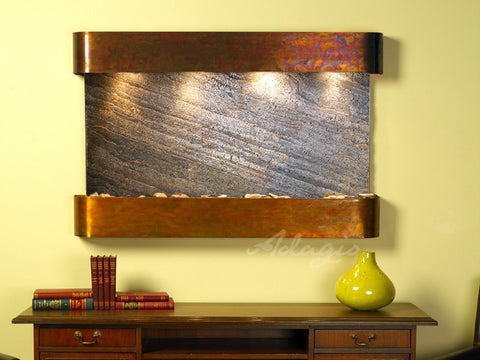 Wall Fountain - Sunrise Springs - Green FeatherStone - Rustic Copper - Rounded - ssr1012