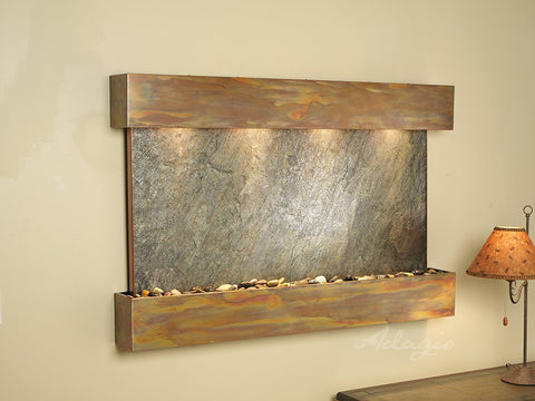 Wall Fountain - Sunrise Springs - Green FeatherStone - Rustic Copper - Squared - sss1012