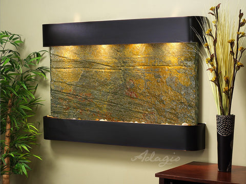 Wall Fountain - Sunrise Springs - Green Slate - Blackened Copper - Rounded - ssr1502
