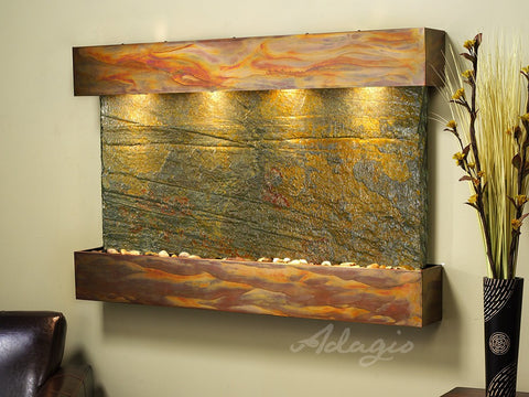 Wall Fountain - Sunrise Springs - Green Slate - Rustic Copper - Squared - sss1002