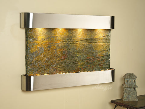 Wall Fountain - Sunrise Springs - Green Slate - Stainless Steel - Rounded - ssr2002