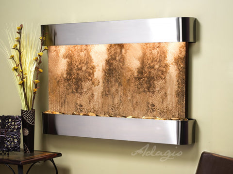 Wall Fountain - Sunrise Springs - Magnifico Travertine - Stainless Steel - Rounded - ssr2008