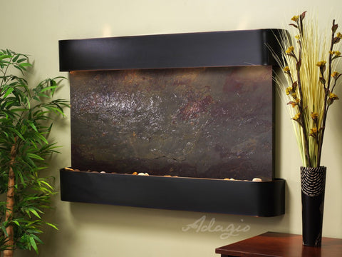 Wall Fountain - Sunrise Springs - Multi-Color FeatherStone - Blackened Copper - Rounded - ssr1514