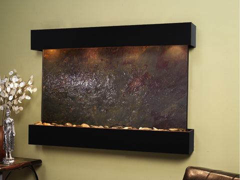 Wall Fountain - Sunrise Springs - Multi-Color FeatherStone - Blackened Copper - Squared - sss1514