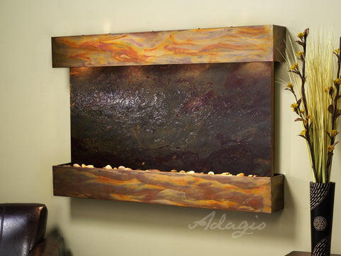 Wall Fountain - Sunrise Springs - Multi-Color FeatherStone - Rustic Copper - Squared - sss1014