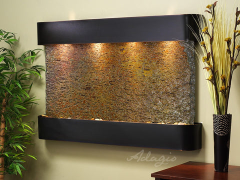 Wall Fountain - Sunrise Springs - Multi-Color Slate - Blackened Copper - Rounded - ssr1504