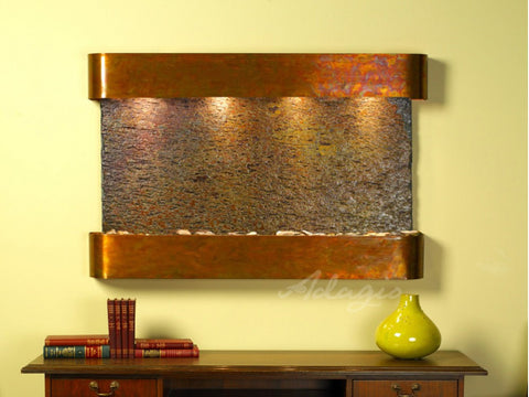 Wall Fountain - Sunrise Springs - Multi-Color Slate - Rustic Copper - Rounded - ssr1004