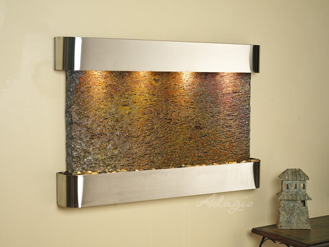 Wall Fountain - Sunrise Springs - Multi-Color Slate - Stainless Steel - Rounded - ssr2004
