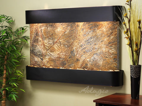Wall Fountain - Sunrise Springs - Rainforest Brown Marble - Blackened Copper - Rounded - ssr1506