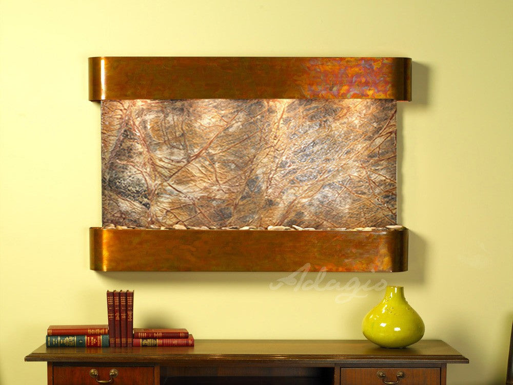 Wall Fountain - Sunrise Springs - Rainforest Brown Marble - Rustic Copper - Rounded - ssr1006