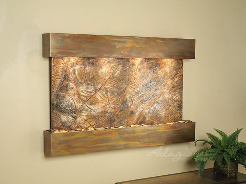 Wall Fountain - Sunrise Springs - Rainforest Brown Marble - Rustic Copper - Squared - sss1006