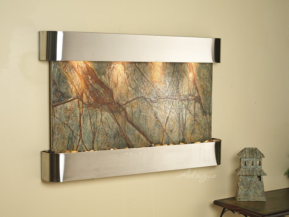Wall Fountain - Sunrise Springs - Rainforest Brown Marble - Stainless Steel - Rounded - ssr2006