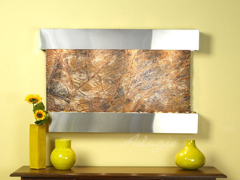 Wall Fountain - Sunrise Springs - Rainforest Brown Marble - Stainless Steel - Squared - sss2006