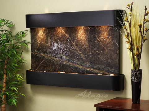 Wall Fountain - Sunrise Springs - Rainforest Green Marble - Blackened Copper - Rounded - ssr1505