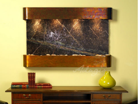 Wall Fountain - Sunrise Springs - Rainforest Green Marble - Rustic Copper - Rounded - ssr1005