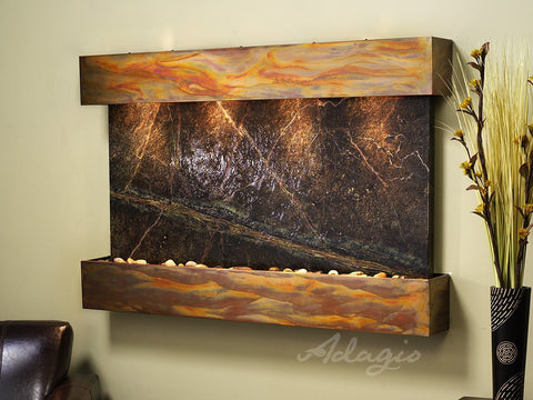 Wall Fountain - Sunrise Springs - Rainforest Green Marble - Rustic Copper - Squared - sss1005