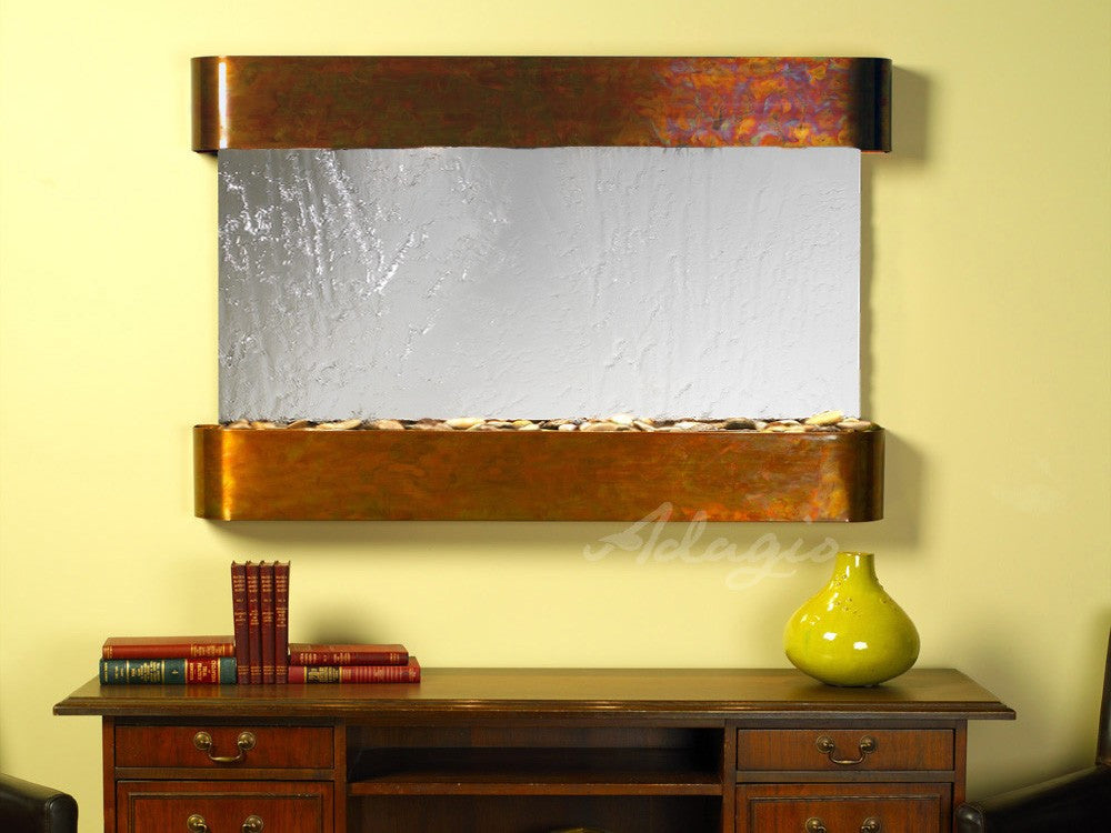 Wall Fountain - Sunrise Springs - Silver Mirror - Rustic Copper - Rounded - ssr1040