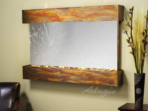 Wall Fountain - Sunrise Springs - Silver Mirror - Rustic Copper - Squared - sss1040