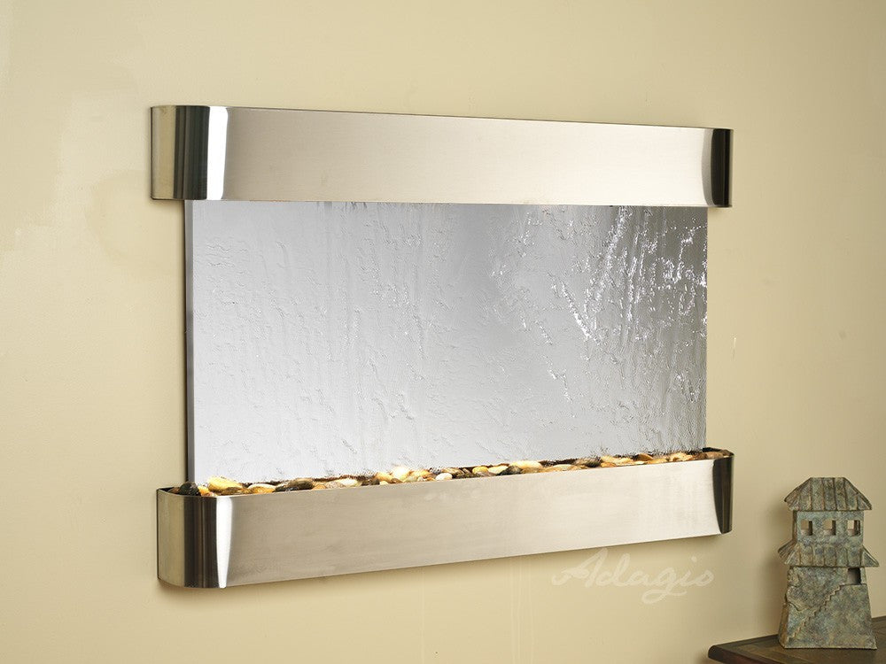 Wall Fountain - Sunrise Springs - Silver Mirror - Stainless Steel - Rounded - ssr2040