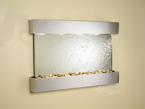 Wall Fountain - Sunrise Springs - Silver Mirror - Stainless Steel - Squared - sss2040
