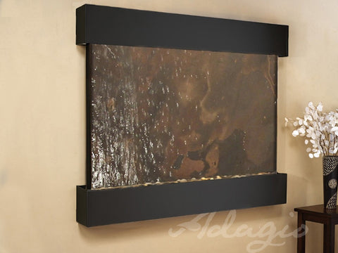 Wall Fountain - Teton Falls - Multi-Color FeatherStone - Blackened Copper - Squared - tfs1514