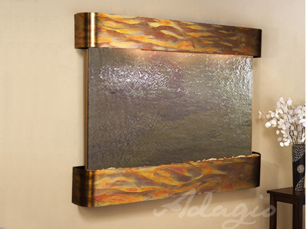 Wall Fountain - Teton Falls - Multi-Color FeatherStone - Rustic Copper - Rounded - tfr1014