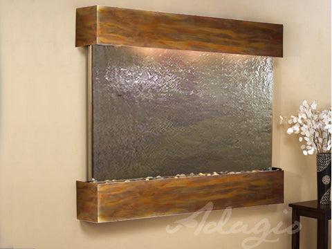 Wall Fountain - Teton Falls - Multi-Color FeatherStone - Rustic Copper - Squared - tfs1014