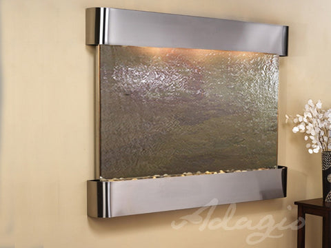 Wall Fountain - Teton Falls - Multi-Color FeatherStone - Stainless Steel - Rounded - tfr2014