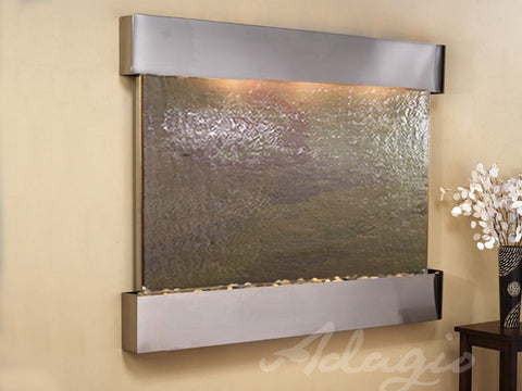 Wall Fountain - Teton Falls - Multi-Color FeatherStone - Stainless Steel - Squared - tfs2014