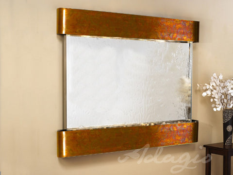 Wall Fountain - Teton Falls - Silver Mirror - Rustic Copper - Rounded - tfr1040