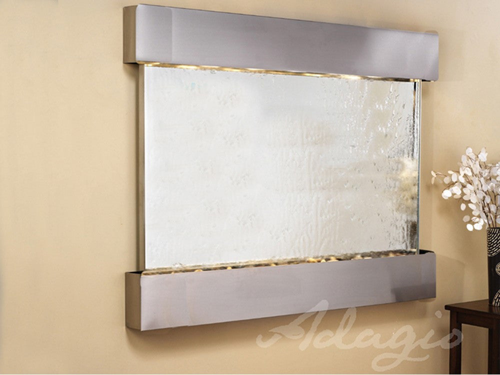 Wall Fountain - Teton Falls - Silver Mirror - Stainless Steel - Squared - tfs2040