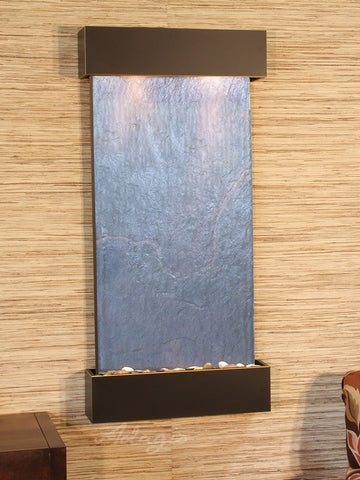 Wall Fountain - Whispering Creek - Black FeatherStone - Blackened Copper - wcs1511