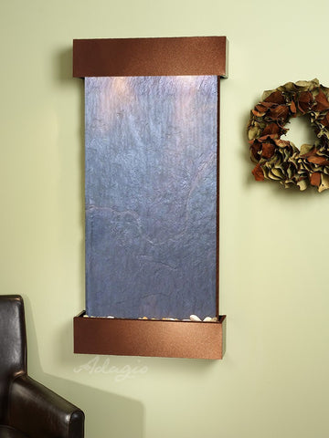 Wall Fountain - Whispering Creek - Black FeatherStone - Copper Vein - wcs3711