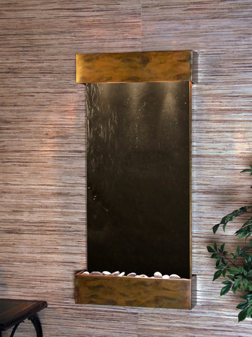 Wall Fountain - Whispering Creek - Black FeatherStone - Rustic Copper - wcs1011