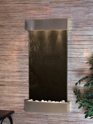 Wall Fountain - Whispering Creek - Black FeatherStone - Stainless Steel - wcs2011
