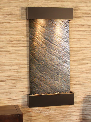 Wall Fountain - Whispering Creek - Green FeatherStone - Blackened Copper - wcs1512