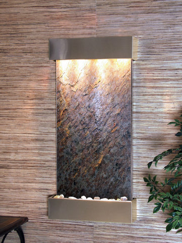 Wall  Fountain - Whispering Creek - Green FeatherStone - Stainless Steel - wcs2012