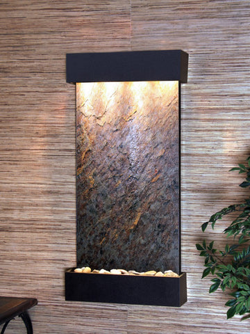 Wall Fountain - Whispering Creek - Green FeatherStone - Textured Black - wcs1712