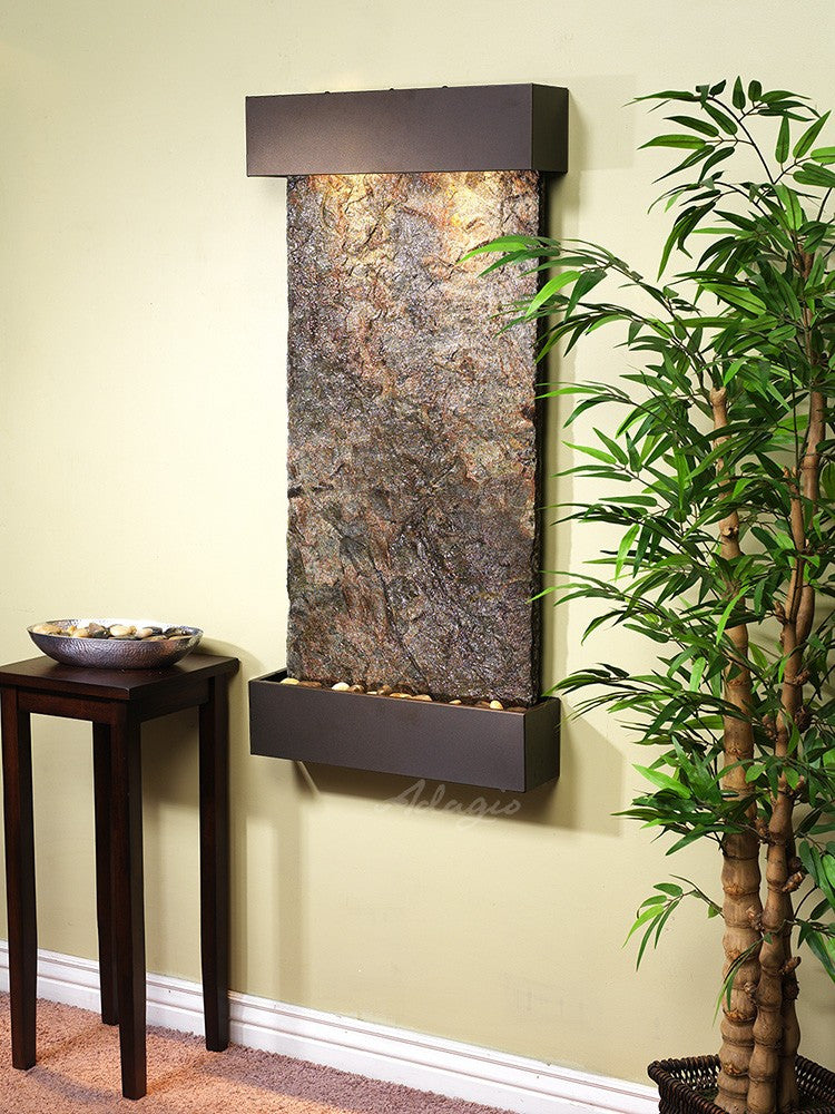 Wall Fountain - Whispering Creek - Green Slate - Antique Bronze - wcs3502